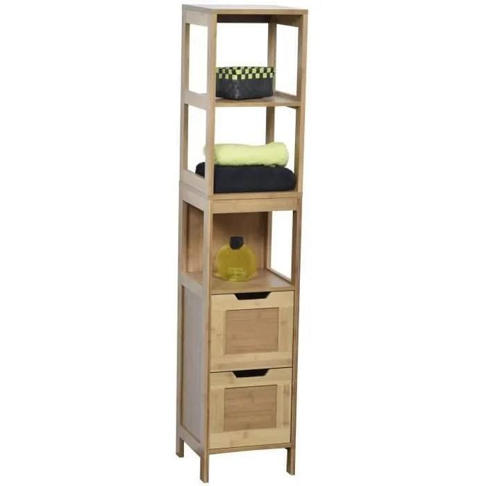 meuble colonne de salle de bain en bambou