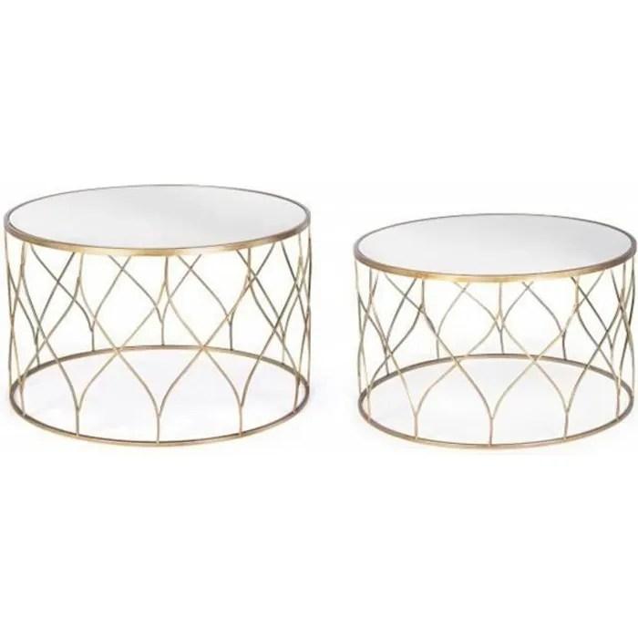 set de 2 tables basses rondes en fer et verre