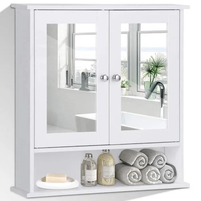 Armoire De Toilette Meuble De Salle De Bain Avec Miroir 3 Etageres Et 2 Portes 56 X 13 X 58 Cm Blanc Achat Vente Armoire De Toilette Armoire De Toilette