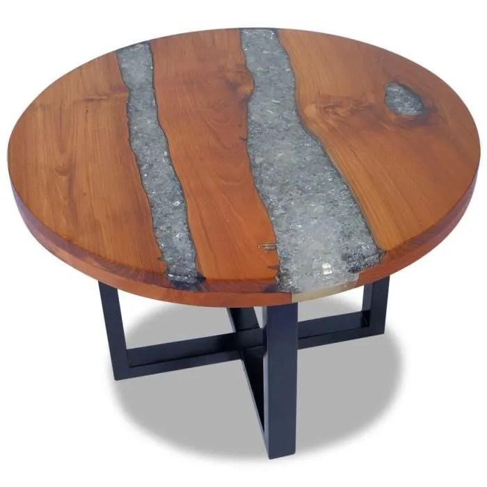 table basse contemporain teck resine 60 x 40 cm diam x h