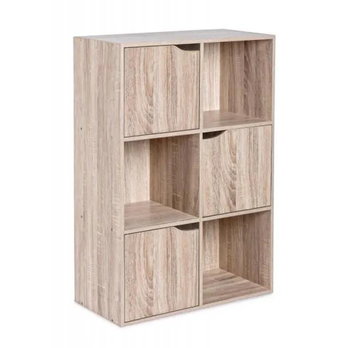 meuble etagere avec 3 portes en bois coloris beige l 60 x p 29 x h 90 cm