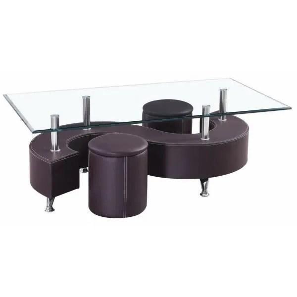 table basse s marron 2 poufs achat