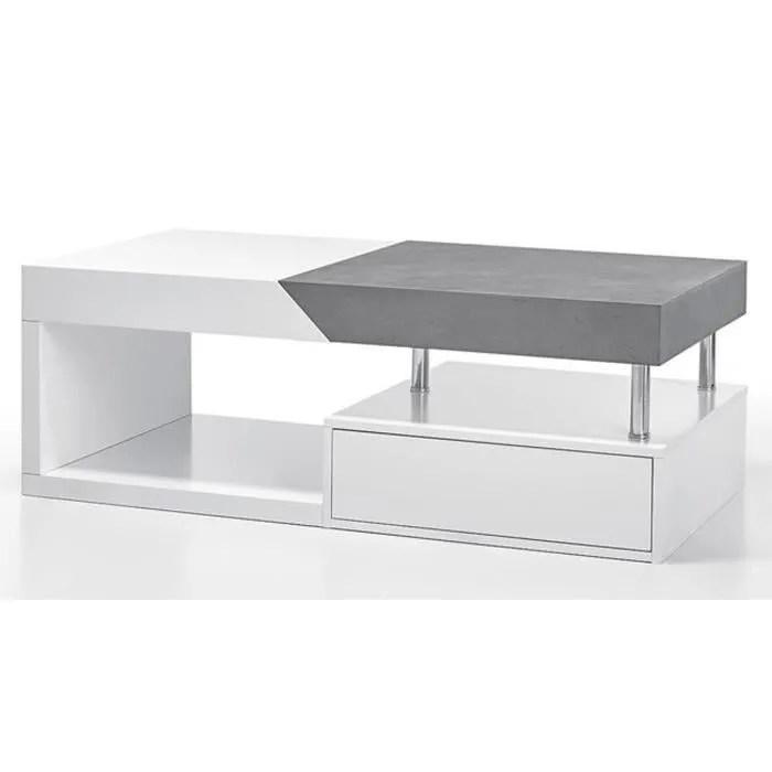 table basse modulable en chene laque blanc mat et