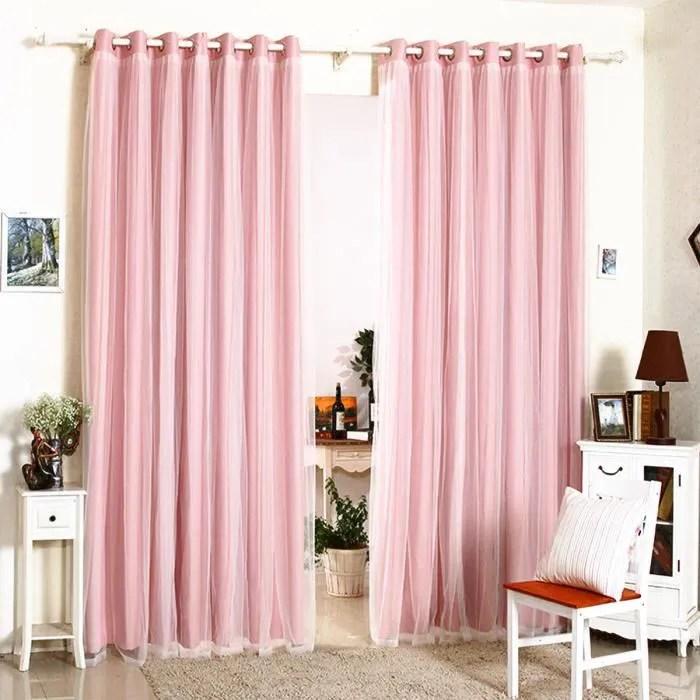 tempsa double rideaux rose avec couche de dentelle