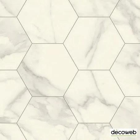sol lino imitation carrelage hexagonal blanc m
