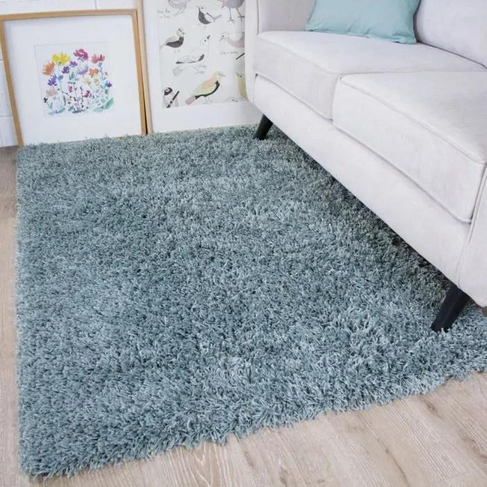tapis a poils longs epais bleu gris vancouver 60x1