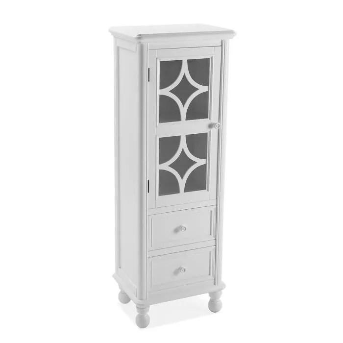 chiffonnier blanc avec porte vitree l 41 5 x l 30 x h 120 cm