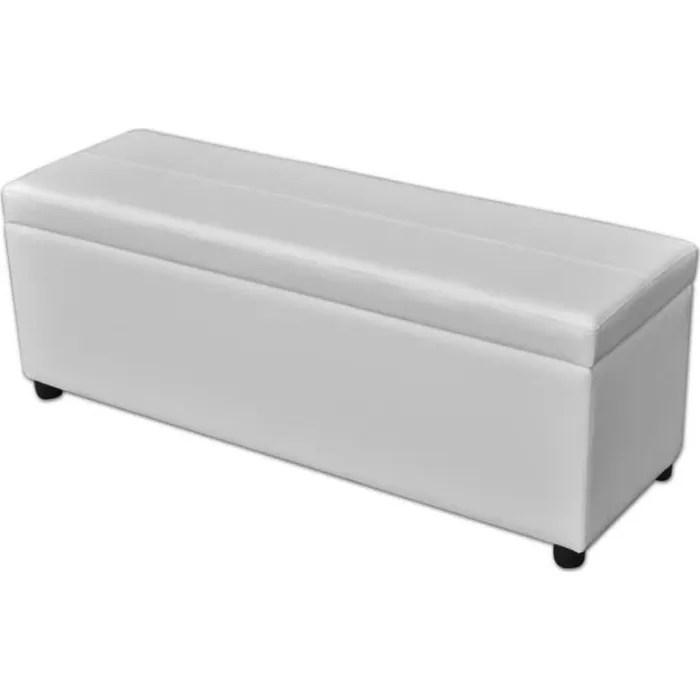 banc coffre de rangement en bois blanc