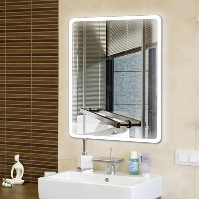 Luxs Nouveau Design Miroir De Salle De Bains Avec Led Eclairage 80x60cm Hi Tech Miroir Mural Achat Vente Miroir Salle De Bain Soldes Sur Cdiscount Des Le 20 Janvier Cdiscount