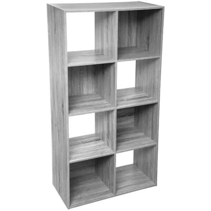 five meuble etagere de rangement en bois gris 8 cases mix n modul gris