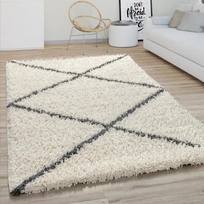 tapis poils longs salon shaggy motif losanges scan