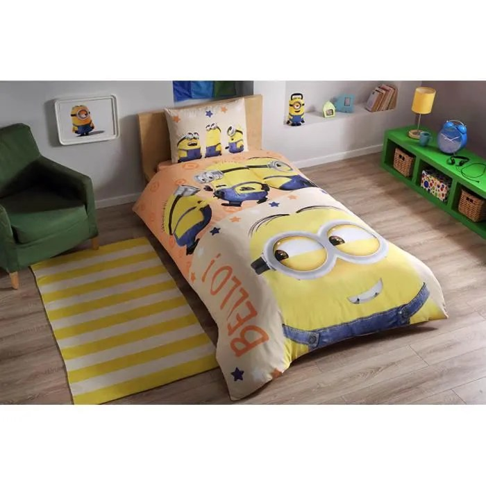 parure de lit les minions 1 personne 100 coton 3 pcs housse de couette 160x220 cm drap taie d oreiller