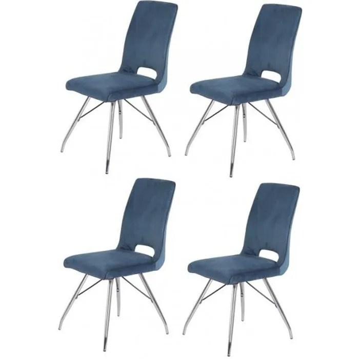 lot de 4 chaises velours bleu marine bella