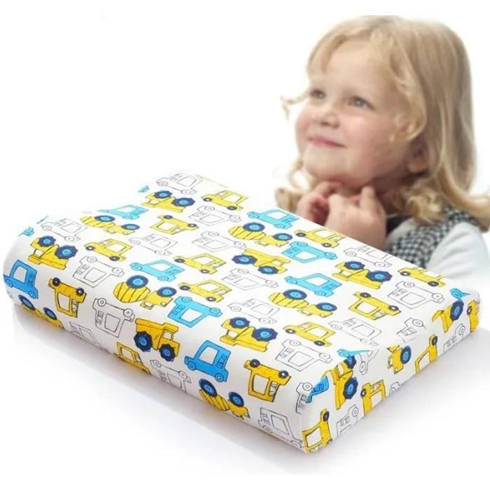 oreiller enfant 3 10 ans a memoire de forme anti acarien dodo ergonomique cervical avec haute et bas avec taie 38 25cm imprime jaune