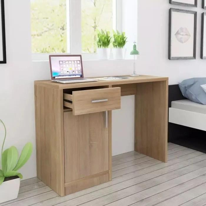 table de bureau marron en bois de mdf armoire tiroirs informatique multimedia compartiments college lycee universite