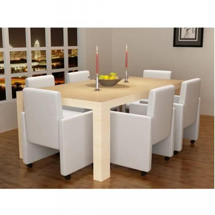 chaises de cuisine et de salle a manger fauteuil a roulettes blanc lot de 6