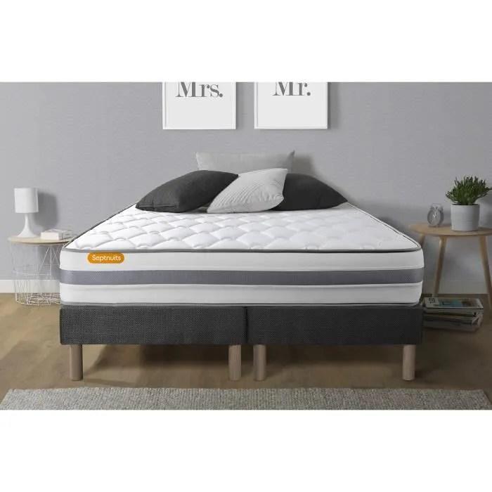 matelas 160x200 double sommiers gris 80x200 memo spring ressorts ensaches 3 zones de confort maxi epaisseur 160 x 200 cm gris