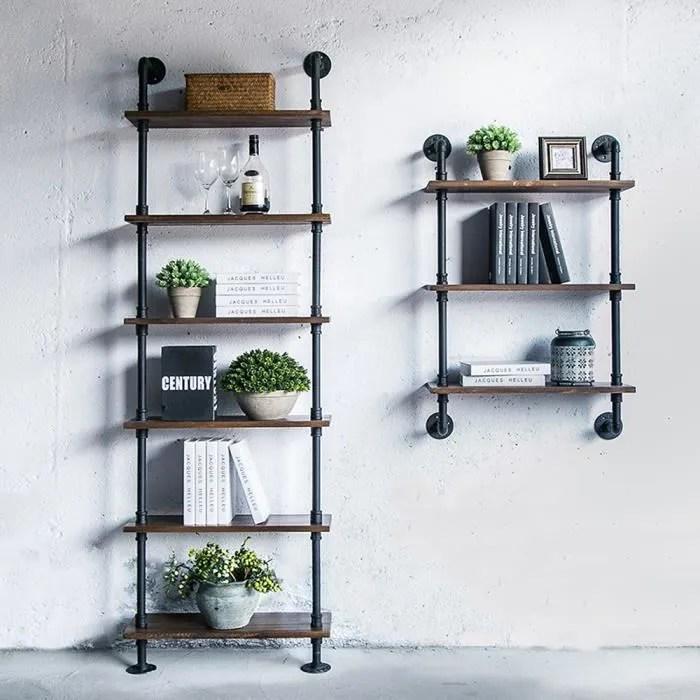 ikayaa 25 61 100cm etageres murales 3 tier en bois de pin acier bibliotheque stockage salle de bain cuisine style industriel