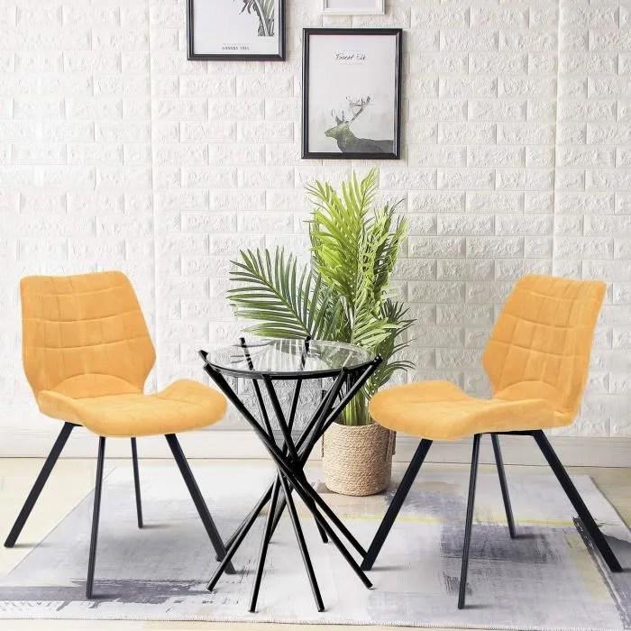 lot de 2 chaises salle a manger look scandinave design tissu jaune pied en metal noir chambre bureau salon