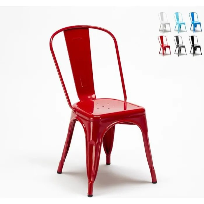 chaise tolix industrielle en acier et metal pour cuisine et bars steel one couleur rouge