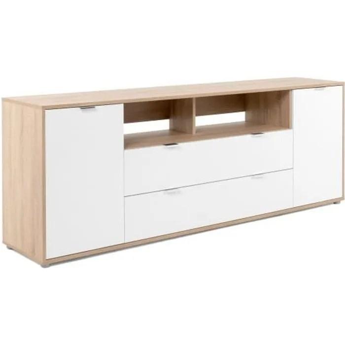 meuble tv 2 tiroirs decor chene et blanc l 180