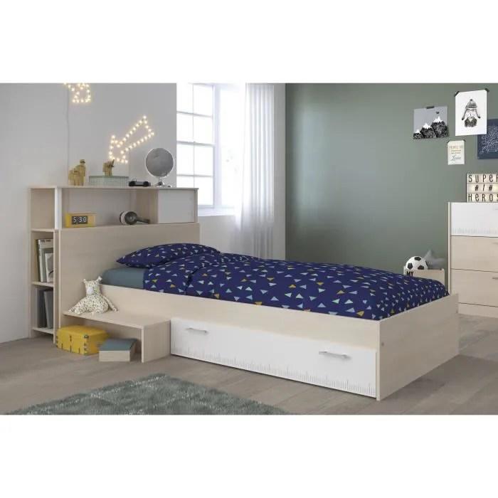 charlemagne ensemble lit tete de lit avec rangement style contemporain decor acacia clair et blanc