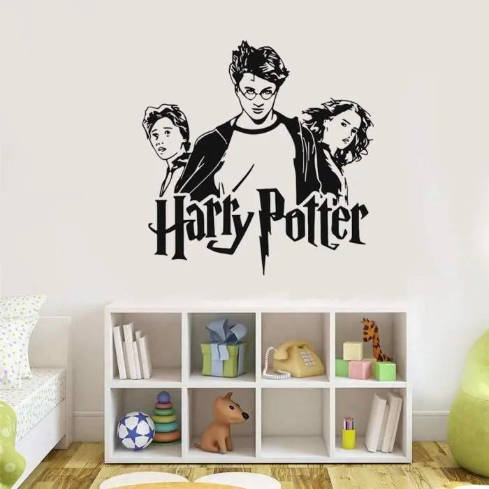 stickers muraux garcon ado harry potter trio ron hermione sticker vinyle poudlard art autocollant mural pour la chambre des enfan