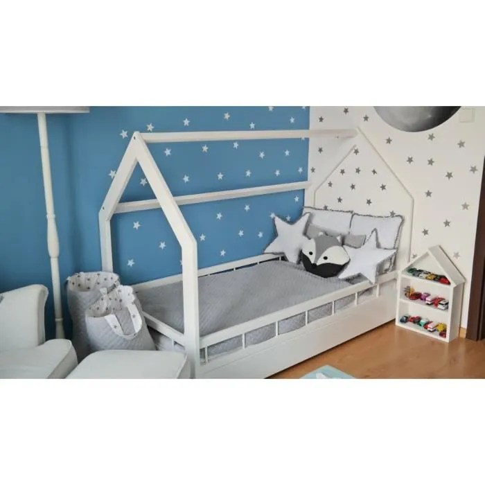 solenzo lit cabane pour enfant avec sommier 90x190cm
