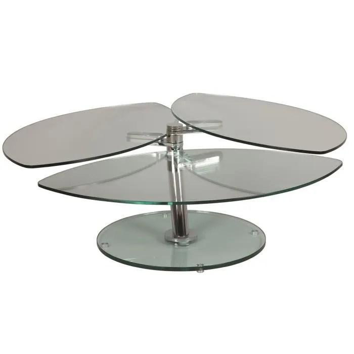 table basse avec 3 plateaux en verre trempe avec support en acier chrome