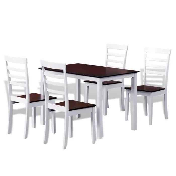 set table cuisine avec 4 chaises marron