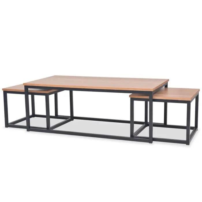 table basse de salon scandinave style contemporain industriel consoles 3 pcs bois de frene