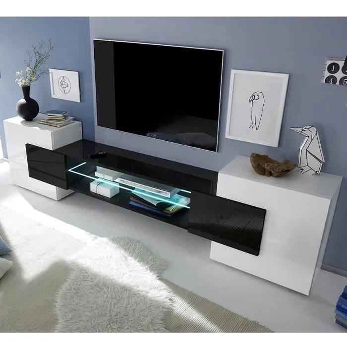 meuble tv blanc et noir laque brillant eros 3 avec