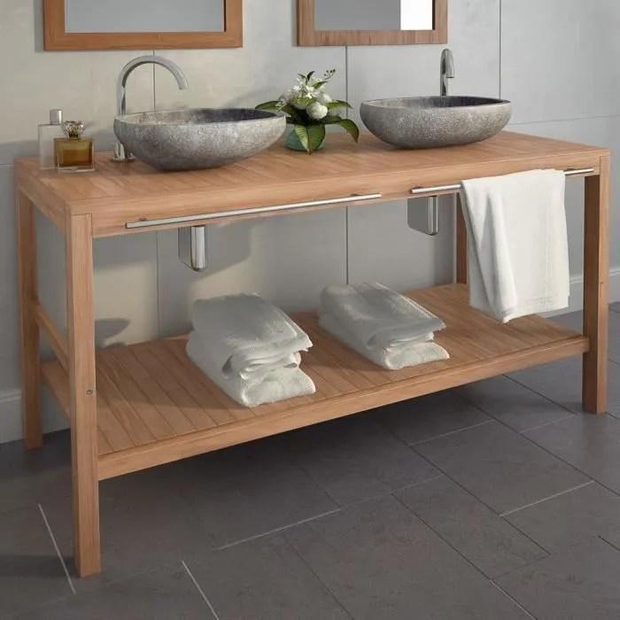 meuble lavabo de salle de bains teck massif 132x45x75cm