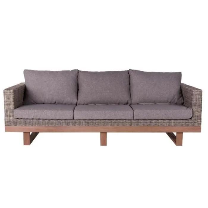 canape d exterieur 3 places bois d acacia rotin gris rinca l 220 x l 89 x h 65