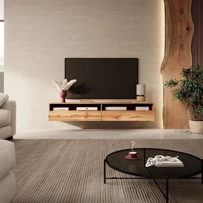 meuble tv rednaw 180 cm chene wotan 2 nich