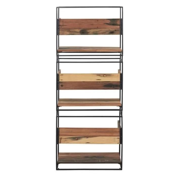 etagere fer bois 3 plateaux phoenix l 60 x l 40 x h 150