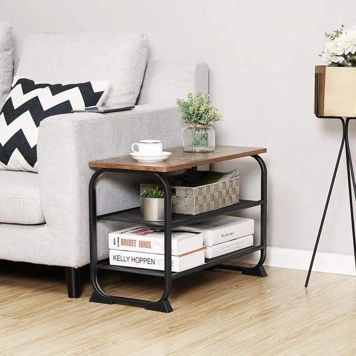 vasagle meuble a chaussures style industriel avec 2 etages en treillis structure en metal rustique lmr32bx