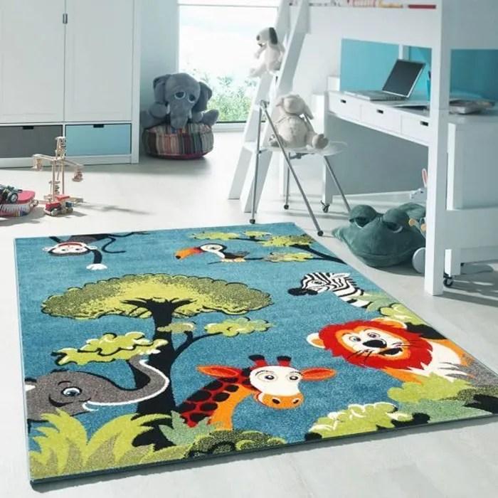 unamourdetapis 100x100 carre tapis chambre enfant solide et facile entretien kids safari bleu tapis enfant animaux bleu