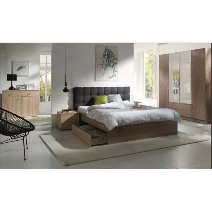 chambre a coucher complete maxim lit adulte 160x200 cm tiroir sommier chevets commode armoire garde robe