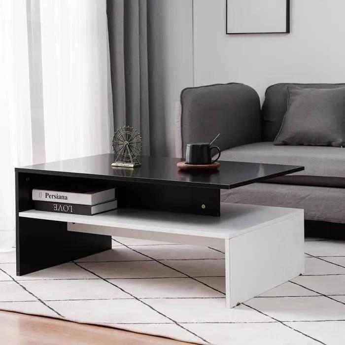 table basse dianwaa bois blanc et noir table cafe