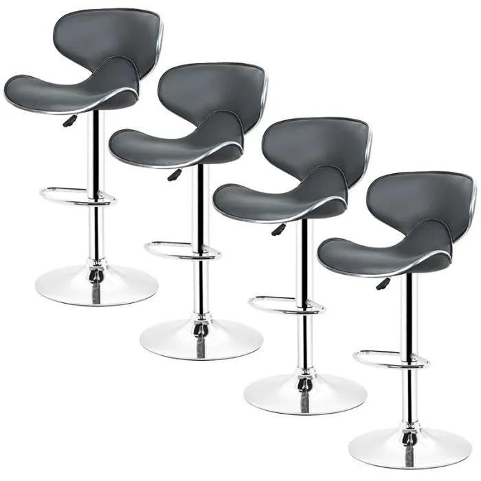 lot de 4 tabourets de bar lounge chaise haute desi