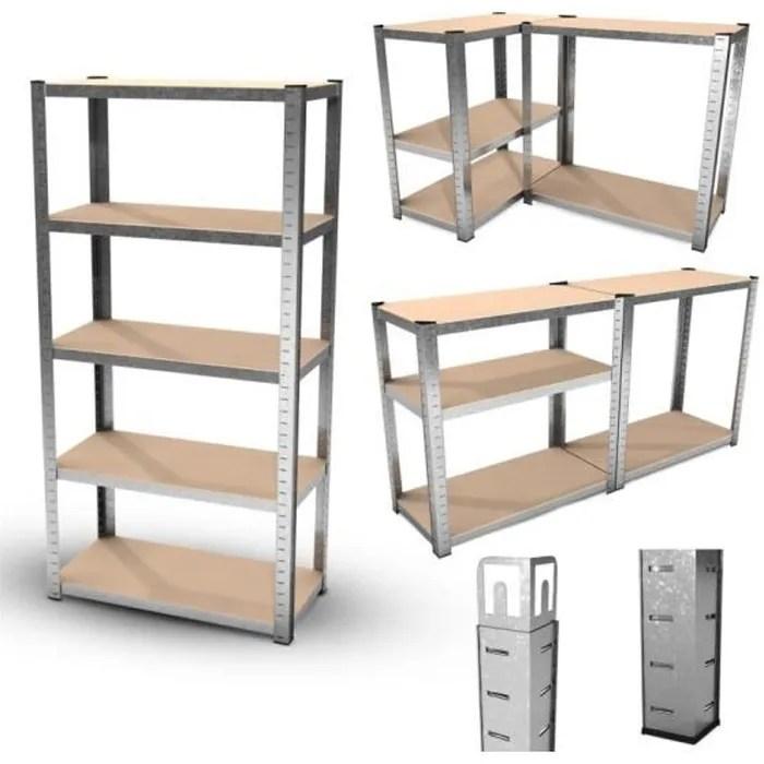 etagere de rangement polyvalente en metal pour garage atelier charge lourde max 875kg 180 x 90 x 45 cm gris