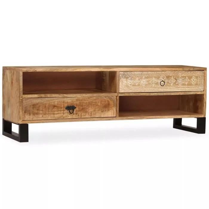 meuble tv bois massif de manguier 120 x