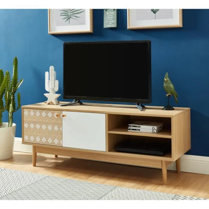 leika meuble tv 120cm blanc et chene