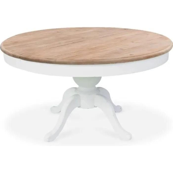 table ronde extensible en bois massif sidonie blan