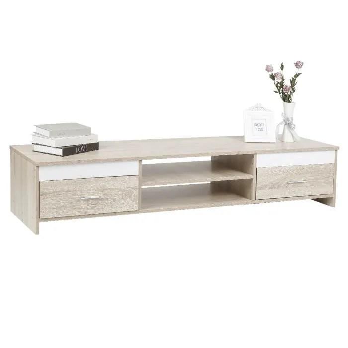 meuble tv chene blanc l 160 cm