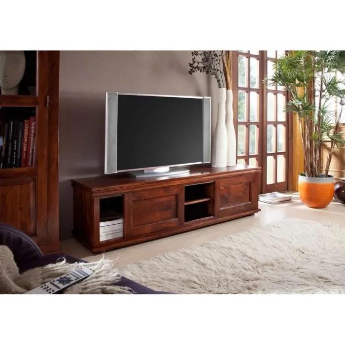meuble tv bois massif d acacia laque
