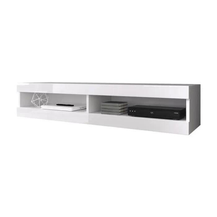meuble tv suspendu corps mat facade laque 150 cm