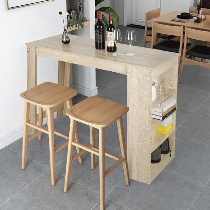 table bar chene avec 4 rangements mange debout table haute de cuisine style contemporain