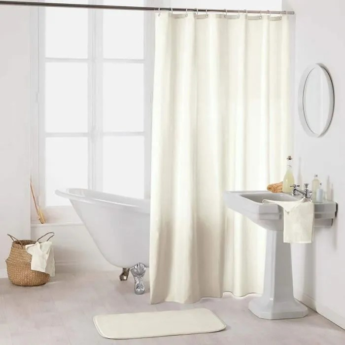 rideau de douche en polyester uni avec crochets